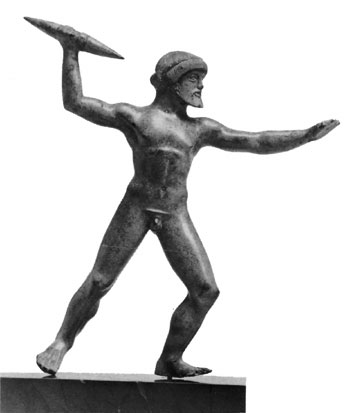 Little statue of Zeus throwing an anchor