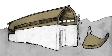 Galera griega volteada y apoyada sobre muros de soporte